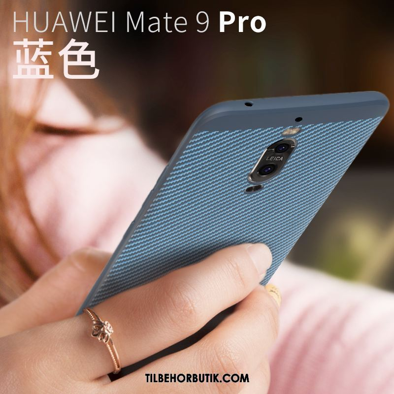Huawei Mate 9 Pro Etui Support Silikone Blå Tynd Cover Billige