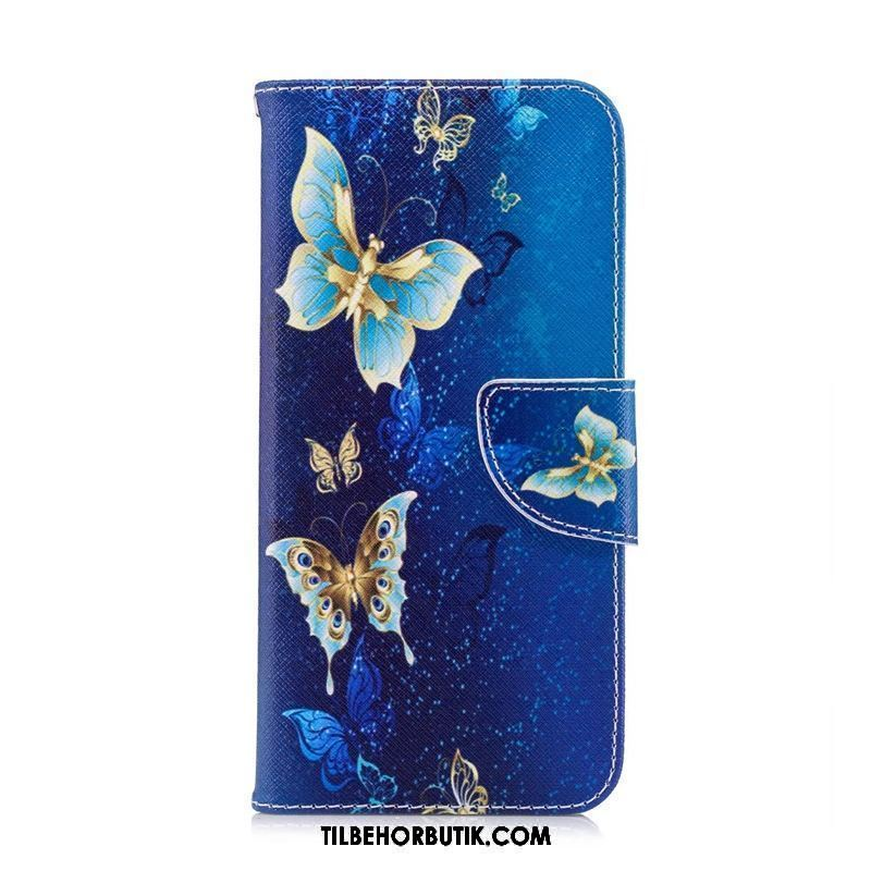 Huawei P Smart+ Etui Cartoon Beskyttelse Cover Folio Blå Billige