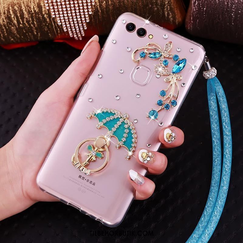 Huawei P Smart Etui Support Strass Cover Ring Grøn Billige