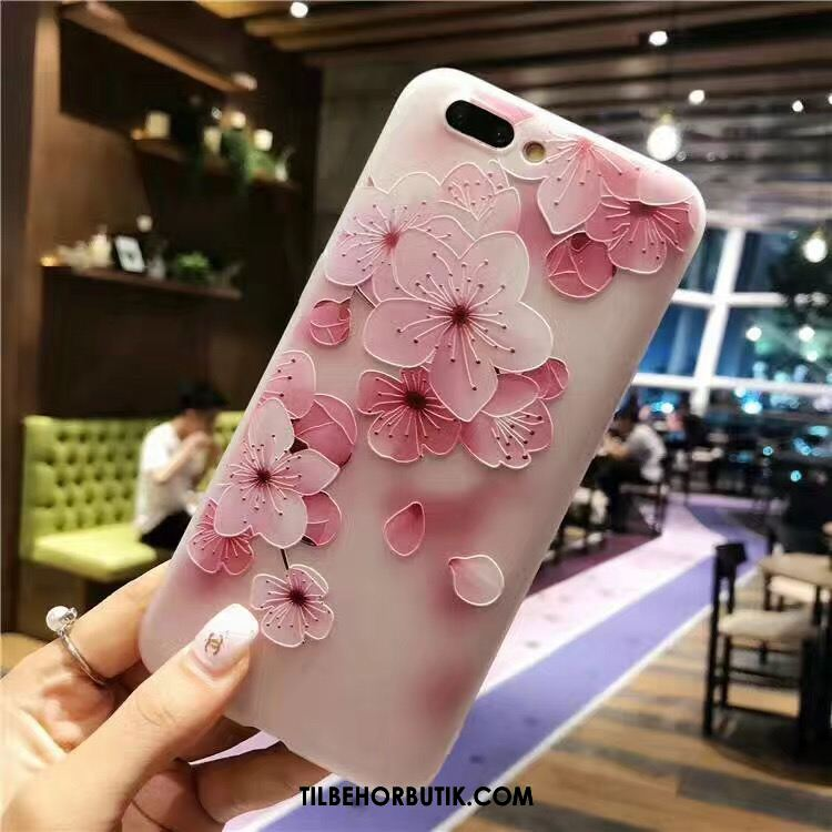 Oppo A3s Etui Blød Lyserød Trend Blomster Relief Billige