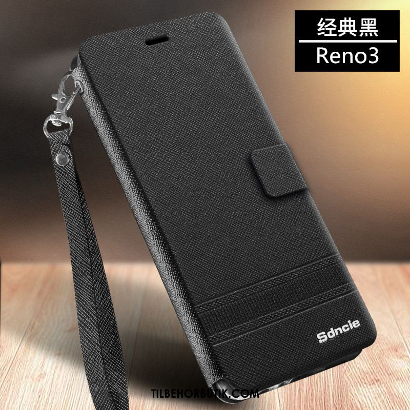 Oppo Reno 3 Etui Business Anti-fald Folio Sort Silikone Rabat