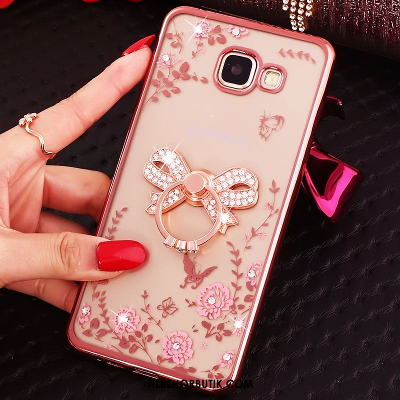 Samsung Galaxy A5 2016 Etui Silikone Strass Ring Rosa Guld Butterfly Online