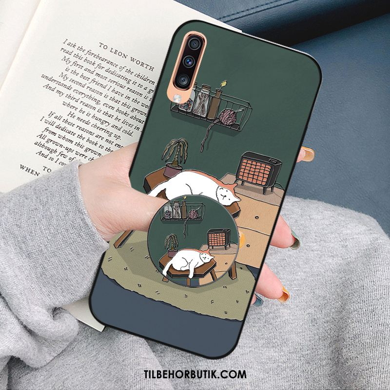 Samsung Galaxy A50s Etui Grøn Cover Kat Cartoon Alt Inklusive Billige