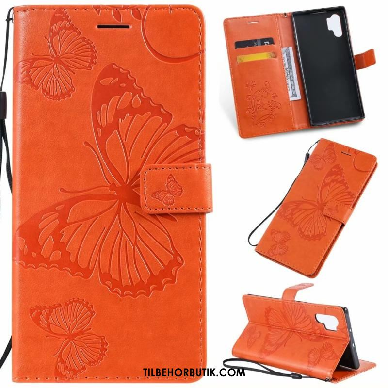 Samsung Galaxy Note 10+ Etui Blød Kort Lædertaske Cover Orange Online