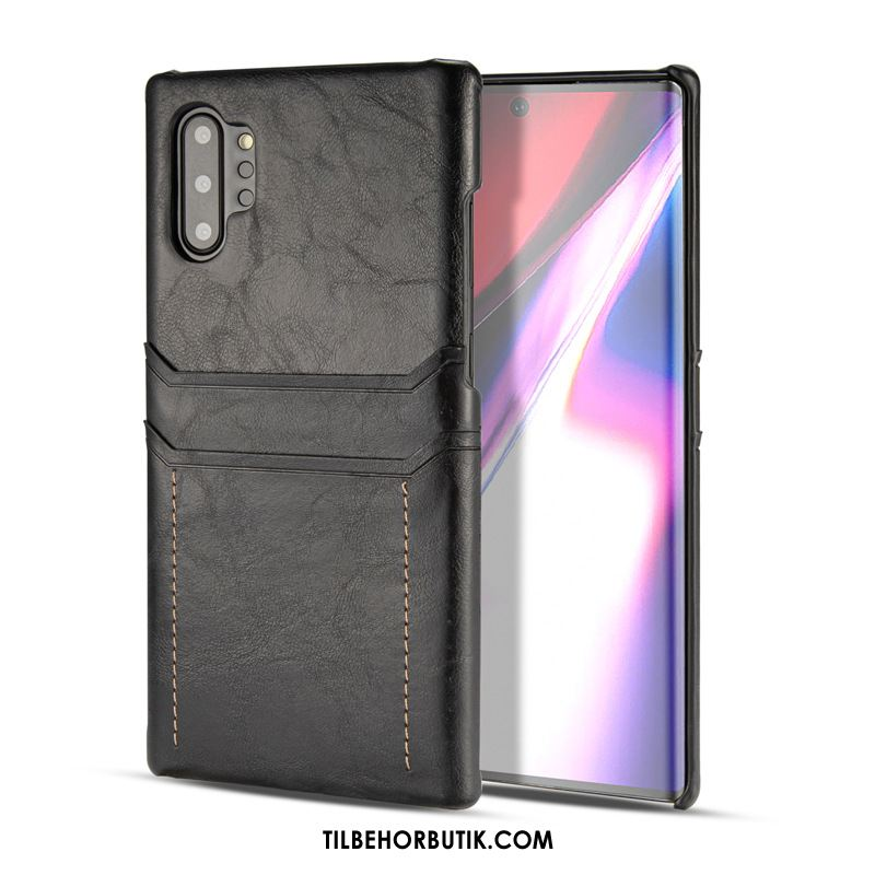 Samsung Galaxy Note 10+ Etui Sort Kort Cover Billige