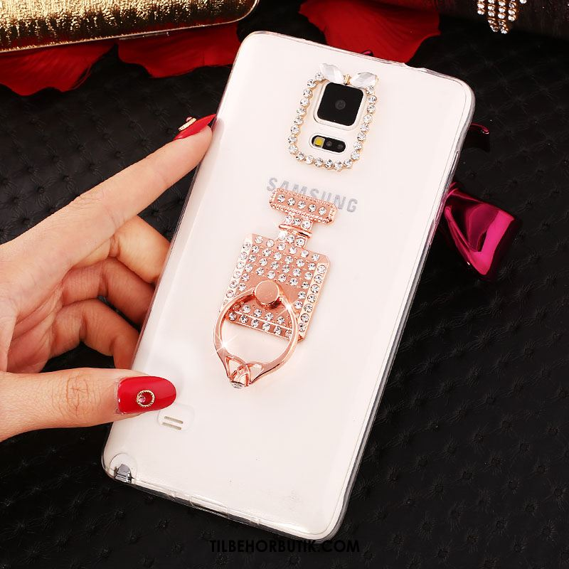 Samsung Galaxy Note 4 Etui Rosa Guld Tynd Strass Blød Cover Billige