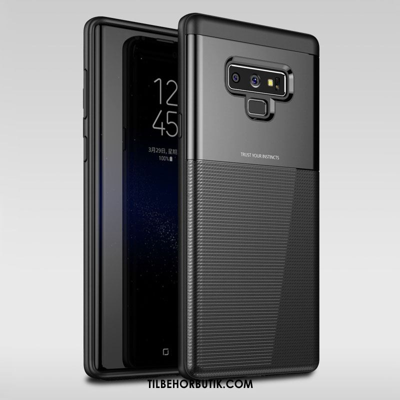 Samsung Galaxy Note 9 Etui Nubuck Blød Sort Trendy Cover Tilbud