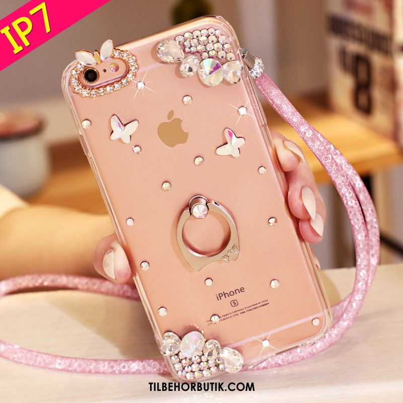 iPhone 7 Etui Cover Support Strass Lyserød Beskyttelse Salg