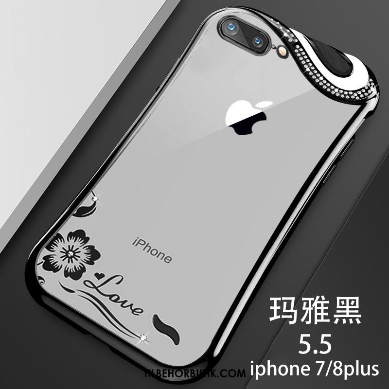 iPhone 7 Plus Etui Sort Silikone Trendy Alt Inklusive Lille Sektion Billige