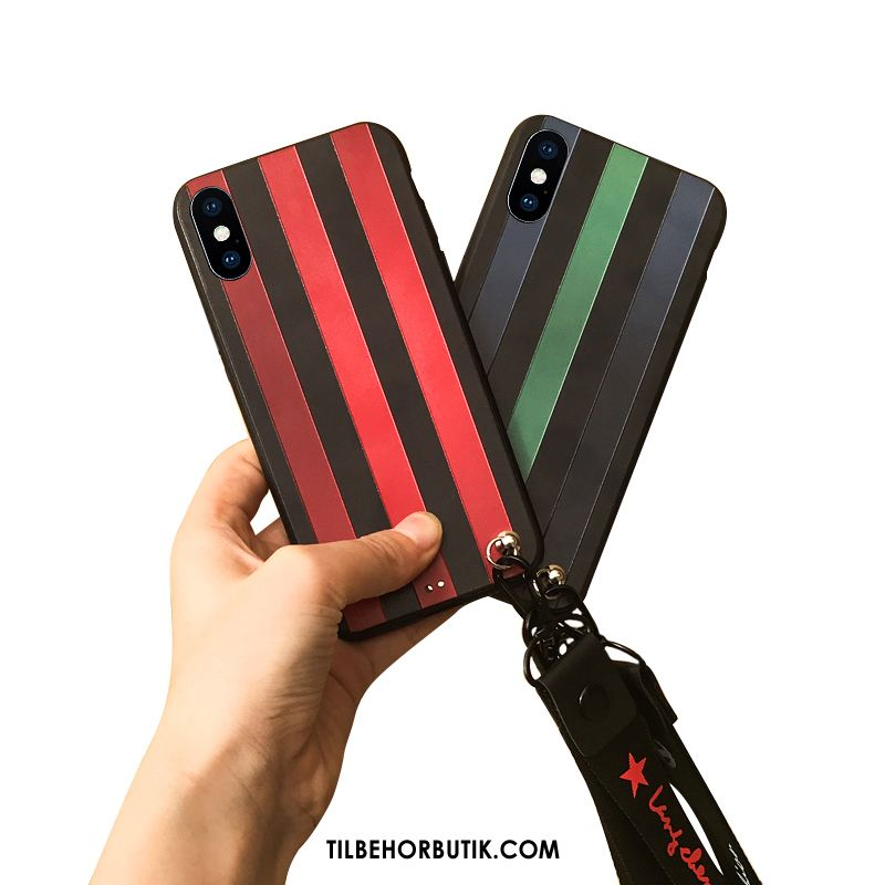 iPhone X Etui Relief Hængende Ornamenter Trendy Alt Inklusive Stribede Salg