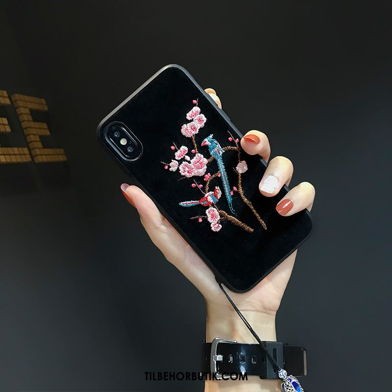 iPhone Xs Max Etui Plomme Blomst Simple Quicksand Broderi Beskyttelse Rabat